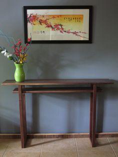 Narrow Console Table Mid Century Modern Zen in by MokuzaiFurniture Narrow Hall Table, Narrow Entryway, Custom Wood Furniture, Handmade Furniture, Furniture Ideas, Entryway Console Table, Entry Tables, Hallway Ideas, Entryway Ideas
