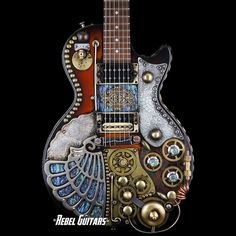 Venus Panthar - Google+ #SteamPunk #Gibson #Guitars Gibson Les Paul Steampunk'd by Franco Design Studio For more info click the link: http://rebel-guitars.com/category/inventory/guitars/other-guitars/