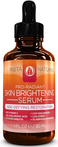 InstaNatural's Skin Brightening Serum is a high-powered blend of lightening agents – such as Vitamin C, Hyaluronic Acid, Alpha Arbutin & Niacinamide – that targets uneven, hyper-pigmented skin to help you achieve a younger and more vibrant appearance.