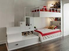 Épített fehér emeletes ágy - gyerekszoba ötlet, modern stílusban
