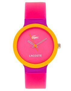 Nos encantan los nuevos colores de Lacoste. Como este modelo Goa. http://comprarrelojes.net/producto/reloj-lacoste-goa-unisex-2020045/