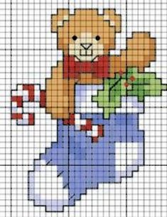 bear holding candy cane in a stocking with holly Xmas Cross Stitch, Cross Stitch Christmas Ornaments, Cross Stitch Cards, Beaded Cross Stitch, Christmas Embroidery, Christmas Cross, Cross Stitching, Cross Stitch Embroidery, Modern Cross Stitch Patterns