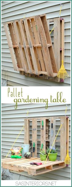 Outdoor Pallet Projects 20 Outdoor Pallet Furniture DIY ideas and tutorials-DIY Pallet Gardening Table - 20 DIY Outdoor Pallet Furniture Ideas and Tutorials for Your Garden and Patio Outdoor Pallet Projects, Pallet Crafts, Diy Crafts, Crafts Cheap, Outdoor Crafts, Outdoor Fun, Creative Crafts, Creative Ideas, Outdoor Decor