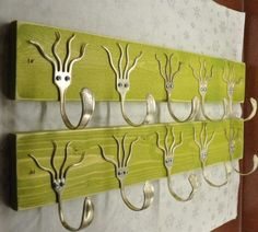 Ia Ia Cthulu Ftaghan! I love how squid-like these forks end up looking. This is a great way not to spend money on hooks, they would look cool without bending the prongs.  --- upcycled furniture ideas | upcycled furniture ideas » Radcrafter