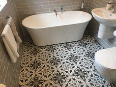 Geometric floor bathroom with grey brick tiles natural stone freestanding bath. Walk in shower and Aqualisa smart shower. Master Bathroom Shower, Bathroom Floor Tiles, Bathroom Fixtures, Bathroom Showers, Old Bathrooms, Upstairs Bathrooms, Downstairs Bathroom, Walk In Shower, Shower Tub