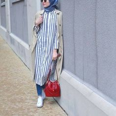 striped shirt dress with hijab- How to wear shirt dress with hijab…