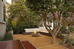 patio decorating ideas decomposed granite firepit outdoor lounge furniture