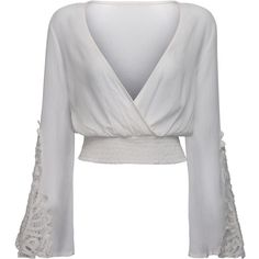 White V-neck Wrap Front Lace Insert Flared Sleeve Crop Top ($20) ❤ liked on Polyvore featuring tops, white v neck top, v-neck tops, long bell sleeve tops, stretch top and white top
