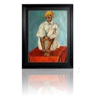 An original painting that has been made using oil colours. It's the portrait of a man who is dressed in traditional Rajasthani attire .Its an original painting that is exclusively available on Apkamart. Amount INR-8000
