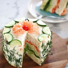 Nordic Diet: 11 Sandwich Cake Recipes That Will Be the Talk of . Tea Recipes, Cake Recipes, Cooking Recipes, Appetizers For Party, Appetizer Recipes, Tea Party Sandwiches, Finger Sandwiches, Sandwich Loaf, Snacks