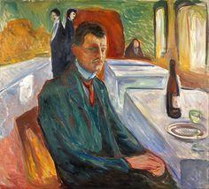 Edvard Munch - Autorretrato con una botella de vino (1906). Expresionismo. Óleo sobre lienzo de 110 x 120 cm. Museo Munch (Oslo), Noruega
