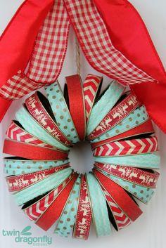 Mason Jar Lid Washi Wreath - love the colors!