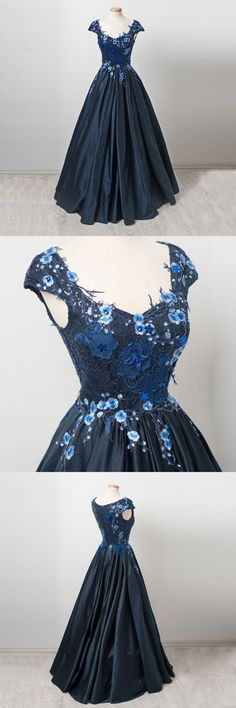 Custom made dark blue lace long prom dress, formal dress – trendty