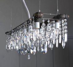 super sparkly  industrial pipe chandelier