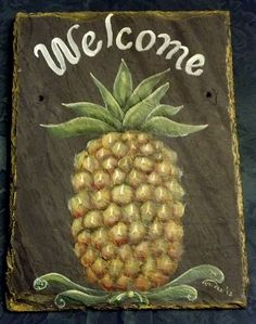 Personalized Painted Slate Welcome Sign PINEAPPLE, UV fade resistant for longevity