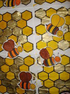 Abeilles MS: abeille feutre- alvéole encre coloré et peinture dorée