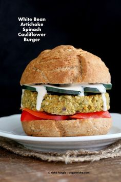 Artichoke Spinach Cauliflower Bean Burgers. Grill-able Vegan Veggie Burger Recipe. - Vegan Richa