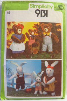 Simplicity 9131 Set of Stuffed Animals