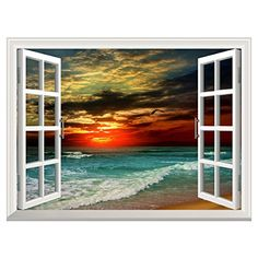 UNIQUEBELLA Twilight Beach Fake Window View Creative 3D Wall Decor Decals Vinyl Stickers for Home Office Decoration