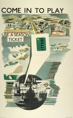 Paul Nash, 'Come in to Play', London Underground poster, 1936