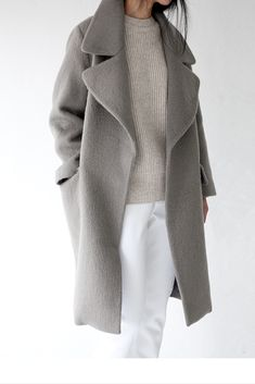 sneakers and pearls, steam your white denim with a grey knit and a grey coat for a cool minimalistic look, trending now, misszeit.png