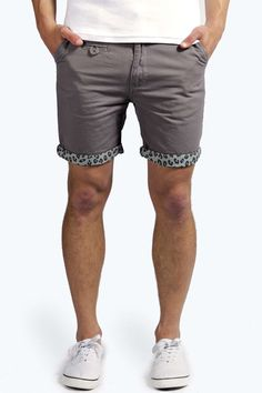 Shorts with Leopard Turn Ups grey