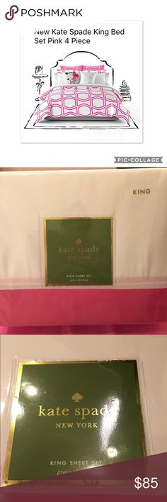 """New Kate Spade King Bed Set Pink 4 Piece Package 4 Pieces Luxury Kate Spade King Sheet Set 100% Cotton Pink White $129 origins price  NEW and never open Note: In my closet over a year the pakage outside not too new please check picture   Product  Grace sheeting Color Pink and white Original price $129.99  Brought when on sale  Set includes:  One king fitted sheet: 78"""" x 80"""" x 15""""  Fits up to 18"""" mattress  One king flat sheet: 110"""" x 104""""  Two king pillowcases: 20"""" x 40""""  Fabric…"""
