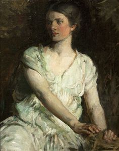 """Young Woman"" (Bessie Price)"".  (c. 1897/1898). (by  Abbott Handerson Thayer)."