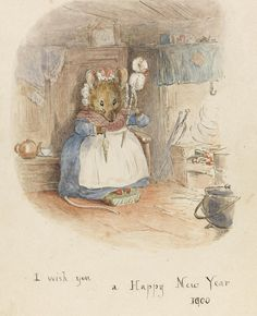 """Beatrix Potter (British author & illustrator) 1866 - 1943 Mouse Hand-Spinning by the Fire, 1900 ink and watercolour drawing x cm.) signed lower right corner """"HBP"""" together with greeting below image """"I wish you a Happy New Year Beatrix Potter Illustrations, Book Illustrations, Beatrice Potter, Peter Rabbit And Friends, Illustration Noel, Hand Spinning, Fiber Art, Illustrators, Fairy Tales"""