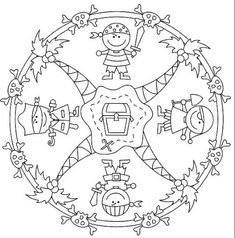 Mandalas 43 Coloring Page - Free Mandalas Coloring Pages Cartoon Coloring Pages, Colouring Pages, Printable Coloring Pages, Pirate Preschool, Pirate Activities, Pirate Day, Pirate Theme, Pirate Quilt, The Pirates