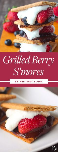 Grilled Berry S'mores. Red, white and blue cupcakes? Boooring. Here are some festive treats to take to your Fourth of July fete that are actually tasteful—and tasty. #4thofjulydesserts #dessertrecipes #desserts #4thofjuly #berrysmores #smores #smoresrecipes #summerparties