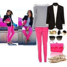 Pink Jeans+striped shirt+black blazer+ goldish sandals cute!