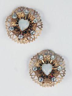 1950s Goldtone Filigree Lucite Heart Rhinestone Earrings