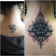 Cover up Tattoo am Nacken abstrakt eindrucksvoll