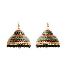 Green & Golden Alloy Metal Stone Embellished Earrings #indianroots #jewellery #alloymetal #embellished #earrings