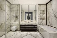 Chelsea TownhouseChelsea | Finchatton Master bathroom--like cararra marble