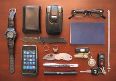EDC items on table. An interesting setup, for sure.