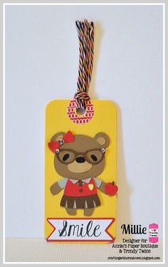 """DT Millie @ Twine It Up! by Annie's Paper Boutique : Trendy Twine with Back to School Tags! She used the Celebration Trendy Twine, the New """"Smile"""" Stamp Set,  Yellow Tag-Its, and Pink Cherry Loop De Loop Trendy Page Dots from APB."""