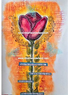 ART JOURNAL PAGE | TULIP | Nika In Wonderland Art Journaling and Mixed Media Tutorials