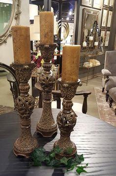 BellaSoleil.com - Barocco Empire Candle Holders (Set of 3), $248.60 (http://www.bellasoleil.com/barocco-empire-candle-holders-set-of-3/)