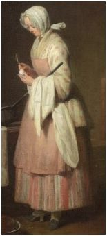 The Attentive Nurse by Jean Siméon Chardin, 1747. Women -- Clothing & dress -- 1700-1799 -- France. 18th century, French. She is wearing a white bedgown with a pink design (flowers?), a striped petticoat (skirt), a pink pinner apron, and and a sheer white neckerchief. Her head may have a white ruffled cap covered with a white head kerchief. She appears to have white stockings and black mules with high heels.