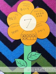 Miss Kindergarten: math flowers. Counting and Cardinality 4 and Operations and Algebraic Thinking 3 and and Math School, School Fun, Middle School, Math Resources, Math Activities, Spring Activities, Math Enrichment, Miss Kindergarten, Kindergarten Freebies