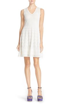 M Missoni Sleeveless V-Neck Cotton Blend Knit Dress