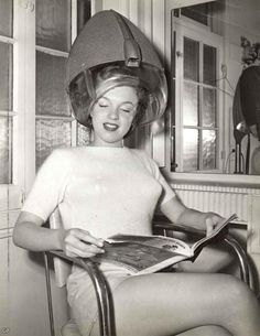 Marilyn Monroe under the hairdryer:)