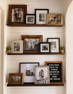 DIY Industrial rustic farmhouse hallway makeover with shiplap and picture gallery wall shelves Home Living Room, Living Room Decor, Living Room Wall Shelves, Hallway Wall Decor, Gallery Wall Shelves, Rustic Gallery Wall, Kitchen Gallery Wall, Gallery Walls, Picture Ledge Shelf