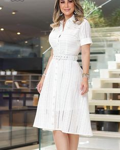 Fashion Tips For Accessories .Fashion Tips For Accessories Casual Dresses, Short Dresses, Fashion Dresses, Older Women Fashion, Womens Fashion, White A Line Dress, Dress Suits, Elegant Outfit, White Fashion