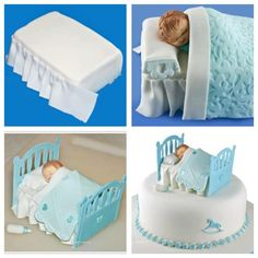 Baby bassinet by Alicia Felix Cake Topper Tutorial, Fondant Tutorial, Bed Cake, Baby Mold, Baby Cake Topper, Shower Bebe, Baby Shawer, Clay Baby, Baby Bassinet