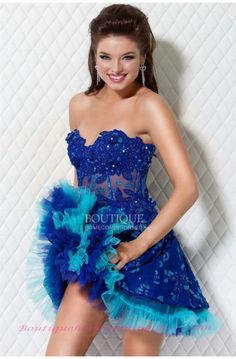 Floral lace applique with rhinestone band short dress 3650