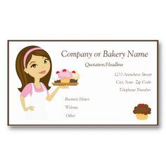 Brunette/Pink Cupcake Baker/Bakery 4 Business Card