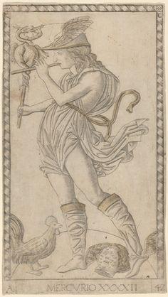 Tarocchi di Mantegna/E-series; c. 1465; Mercurio; Gravura folheada; 179 x 100 mm